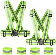 Reflective Vest Running Gear 2 Pack, Adjustable Safety Vest Outdoor Reflective Belt High Visibility 4 Reflecti