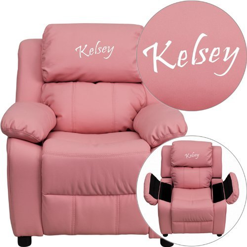 Flash Furniture Personalized Deluxe Kid's Recliner Upholstery: Pink Vinyl