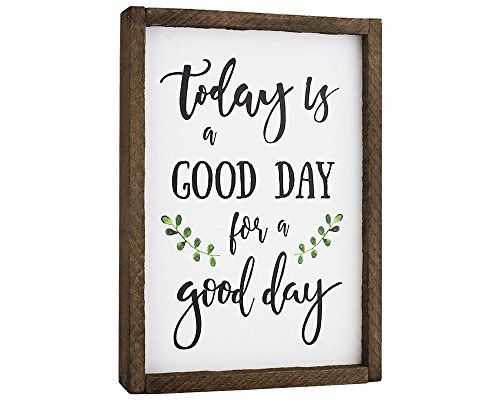 - Elegant Signs Today is A Good Day for A Good Day Funny Framed Wood Sign Rustic Funny Sign Rustic Wall Art Gift for Friend (7 x 9)