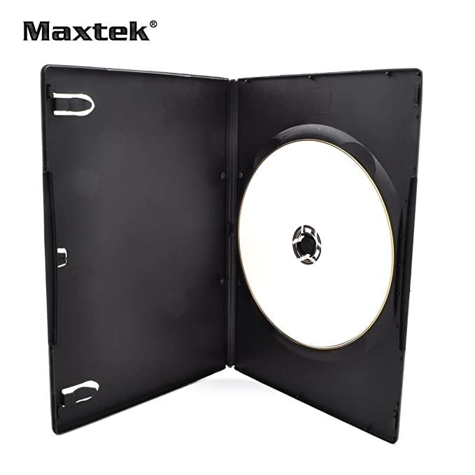Amazon.com: maxtek 7 mm Slim Negro Single CD/DVD Case. Negro ...