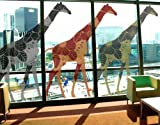 Window Sticker three deco style giraffes set II window film window tattoo glass sticker window art window décor window decoration window picture Dimensions: 56.7 x 100.4 inches