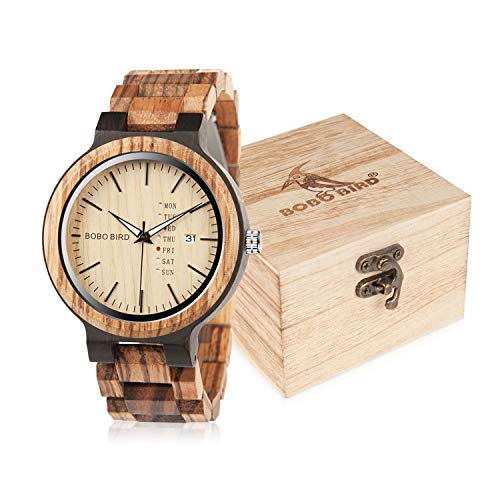 BOBO BIRD Mens Wooden Watch Analog Quartz with Week Display Lightweight Handmade Wood Wrist Watch for Men (Brown Dial)
