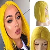 Myfashionhair Human Hair Lace Front Wigs Blonde Bob Silky Straight Human Hair Wig 8 inch 180% Density Straight Hair Human Hair Wig with 13x4 Swiss Lace and Adjustable Cap (Yellow)