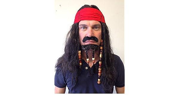 Pirata Peluca con cuentas Caribeño Jack Sparrow Pelo con Con bolitas Barba: Amazon.es: Juguetes y juegos