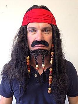 Pirata Peluca con cuentas Caribeño Jack Sparrow Pelo con Con bolitas Barba