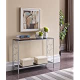 Kings Brand Furniture - Ewing Silver Metal/Black Glass Entryway Console Sofa Table
