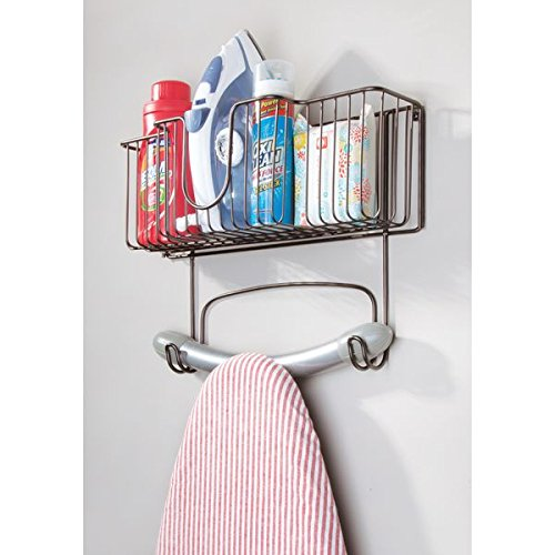 mDesign Laundry Room Wall Mount Ironing Board Holder with Large Basket - Bronze