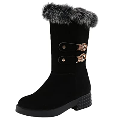 Women Snow Boots Rabbit Fur Winter Warm Full Faux Fur Lining Mid Calf Boots Slip On