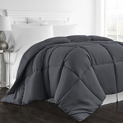 (Beckham Hotel Collection 1300 Series - All Season - Luxury Goose Down Alternative Comforter - Hypoallergenic - Queen/Full - Gray)