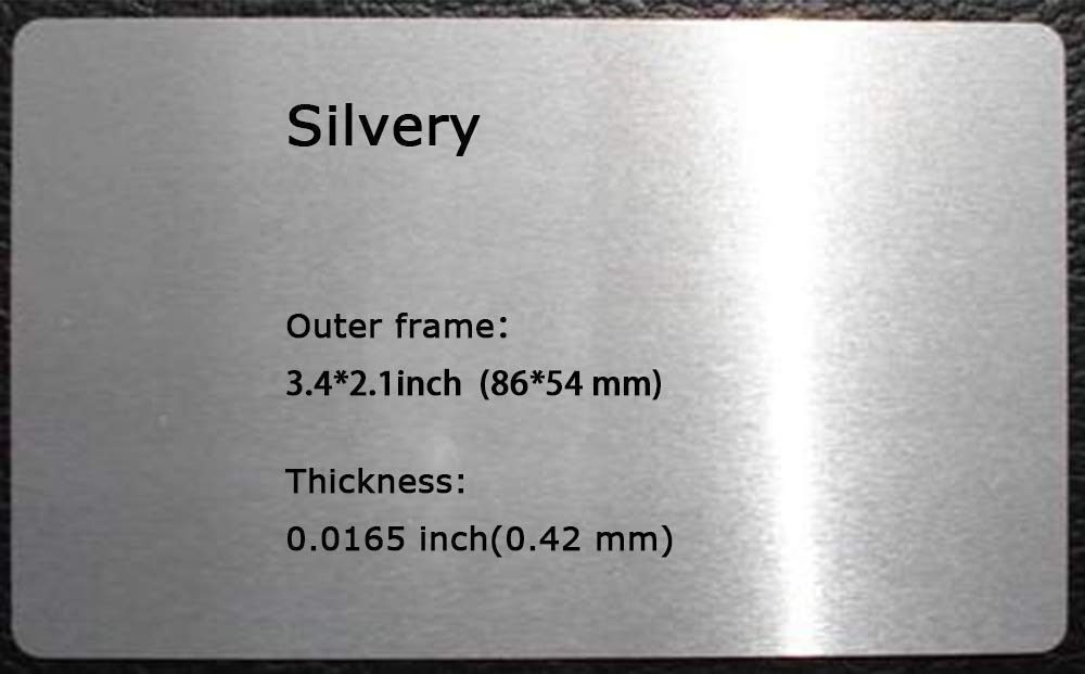 100pcs Sublimation Metal Business Cards Laser Engraved Metal Business Cards Sublimation 0.0165 Inch Thicknes (B-1 Silvery-Smooth)