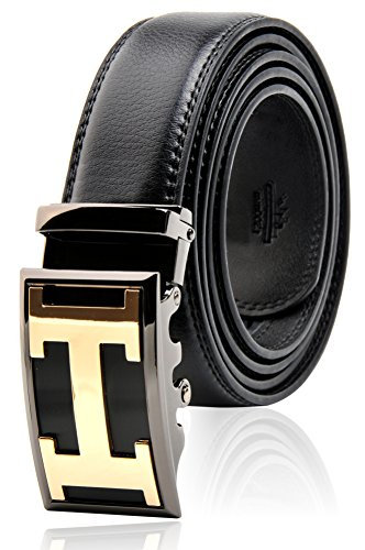 Men's Black Genuine Leather Dress Belt, with 35 mm Automatic Ratchet Alloy Letter H Buckle