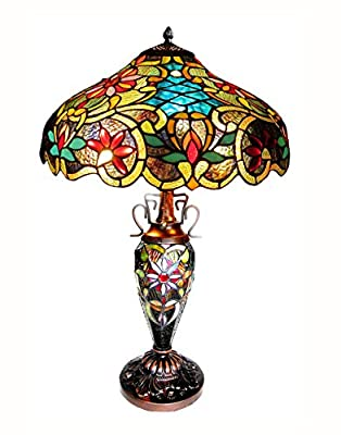 Chloe Lighting CH1A674VB18-DT3 Leslie, Tiffany-Style Victorian 3-Light Double Lit Table Lamp, 18-Inch, Multi-colored