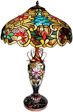 Chloe Lighting CH1A674VB18-DT3 Leslie Tiffany-Style Victorian 3-Light Double Lit Table Lamp, 24 x 18 x 18 , Multicolor