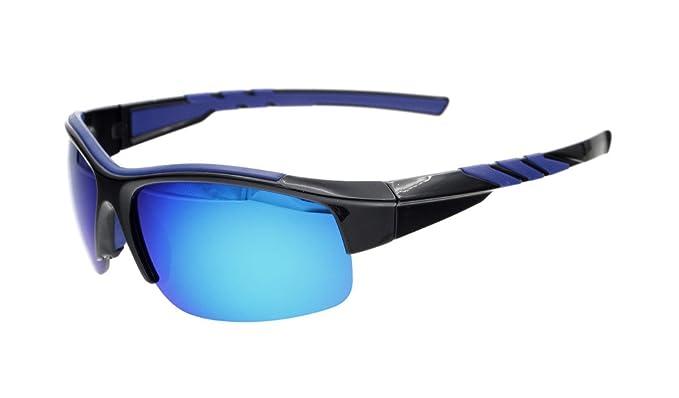 Eyekepper Polycarbonat-polarisierte Sport-Sonnenbrille für Männer Frauen Baseball Laufen Angeln Fahren Golf Softball Wandern TR90 Unbreakable, Black/Red Mirror,
