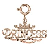 14K Rose Gold Princess Pendant Necklace - 17 mm