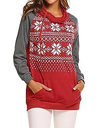 Women's Raglan Sleeve Pullover Hoodie Sweatshirts Christmas Snowflake Printed Hoodies With Pocket