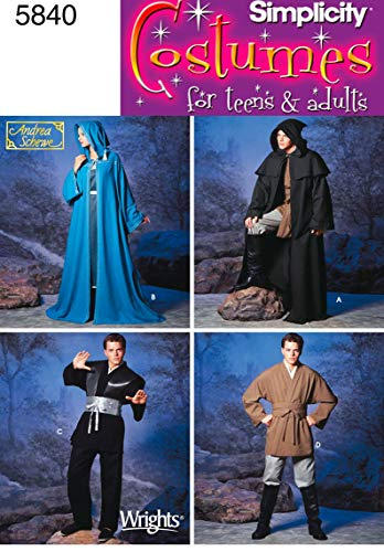 Simplicity Teen's and Adult's Wizard Costume and Ninja Costume Sewing Patterns, Sizes XS-XL -