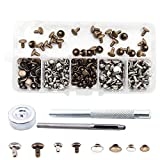 Eyech 120 Sets Leather Rivets Double Cap Rivet with Fixing Tool Kit Tubular Metal Studs for DIY Jeans Leather Clothing Craft Repairing Decoration - 2 Sizes (Silver,Bronze)