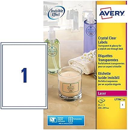 Avery L7784-25 - Pack de 25 folios de etiquetas brillantes, 210 x ...