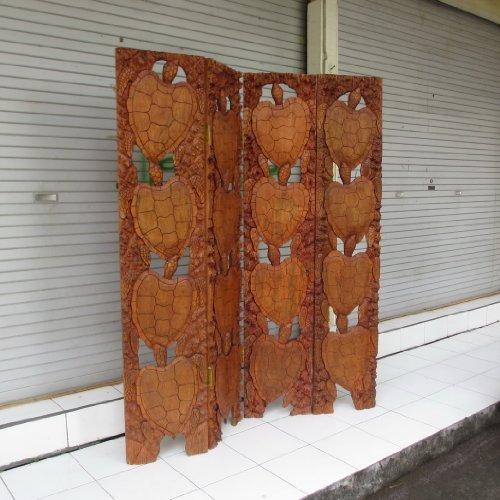 4-Panel Room Divider 60'' - Hand Carved Turtles - Hawaii Treasure by TikiMaster