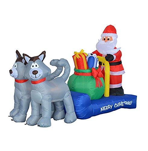 7 Foot Long Christmas Inflatable Santa Claus on Sleigh with Husky Decoration (Christmas Ornaments Ridge Garden)