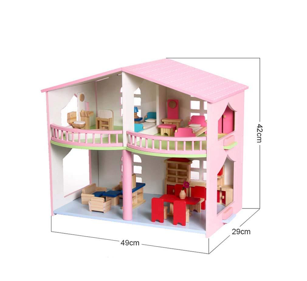QIDUll Hölzernes Puppenhaus Kinder Hölzernes Puppenhaus 3-geschossig mit Möbeln Couture Puppenhaus, Mädchen Mini Haus, Geburtstagsgeschenk