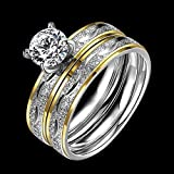 2Pcs Titanium Stainless Steel Crystal Rings Wedding Set Couple Engagement Sz 6-9 (8)