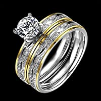 2Pcs Titanium Stainless Steel Crystal Rings Wedding Set Couple Engagement Sz 6-9 (8)