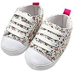 Voberry® Baby Girl's Floral Prewalker Soft Sole Canvas Sneaker ( 6~12 Month, White)