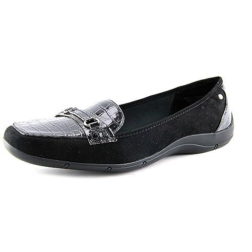 8d58294e5 Karen Scott Womens Jazmin Faux Suede Embossed Loafers Black 5 Medium (B,M)