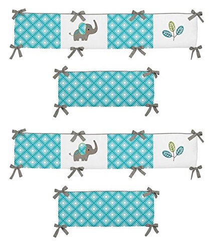 Sweet Jojo Designs Turquoise White and Gray Mod Elephant Collection Baby Girl or Boy Crib Bumper
