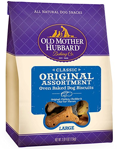 Bone Large Dog Biscuits (Old Mother Hubbard Classic Crunchy Natural Dog Treats, Original Assortment Large Biscuits, 3-Pound Bag)
