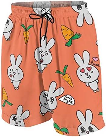 キッズ ビーチパンツ ウサギ ニンジン かわいい 漫画 サーフパンツ 海パン 水着 海水パンツ ショートパンツ サーフトランクス スポーツパンツ ジュニア 半ズボン ファッション 人気 おしゃれ 子供 青少年 ボーイズ 水陸両用