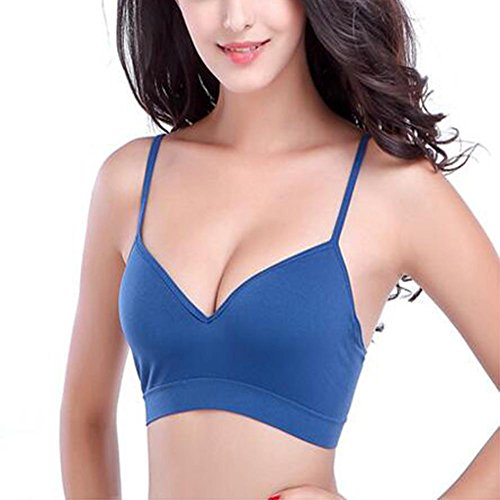Nouveau soutien-gorge de sport sans anneau en acier transparent sans couture une pièce de nylon bleu couleur yoga soutien-gorge de sport Square 7 inch blue