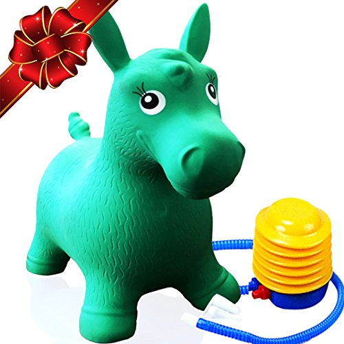 FLASH SALE | Inflatable Bouncer Cutest Bouncy Hopper Toy for Kids. Come In Several Animal Shapes: Deer, Horse, Dog and Cow. Foot Pump Included (Jumbo White Bunny Kit)