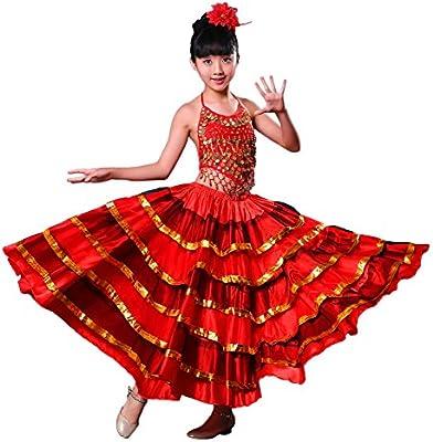LOLANTA Vestido de Danza del Vientre Rojo para niñas Falda de ...