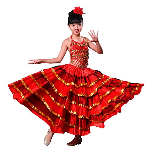 Girls Red Belly Dance Dress Spanish Flamenco Costume Skirt for Girls with Head Flower (720 Degree, 8-10) ()