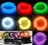 7 Pack - 9ft Neon Glow Light El / Electroluminescent Wire Variety Color (Blue/Red/Green/White/Yellow/Orange/Purple) - 3 Mode Battery Controller - Party Decoration Wedding Halloween Music Festival