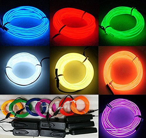 Up Step Lights Costumes 3 (7 Pack - 9ft Neon Glow Light El / Electroluminescent Wire Variety Color (Blue/Red/Green/White/Yellow/Orange/Purple) - 3 Mode Battery Controller - Party Decoration Wedding Halloween Music)