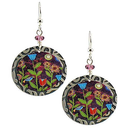 Earth Dreams Handmade Oval Dangle Earrings Colorful Three Blooms – E11702