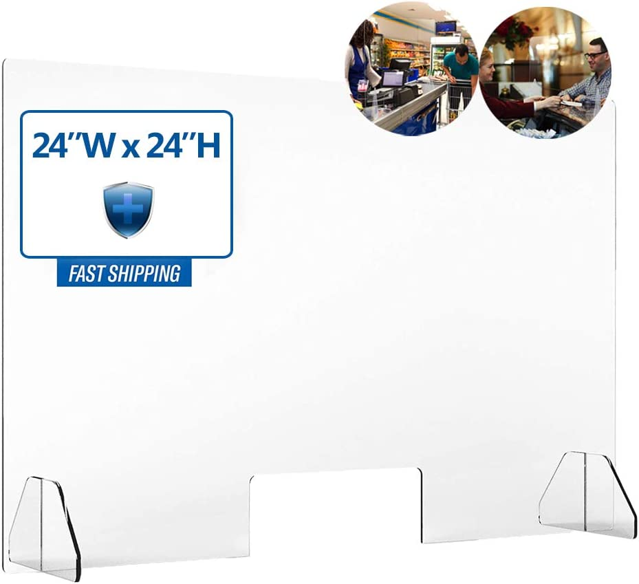 Protective Sneeze Guards - Food Screen Shield, Clear Desk Panel Barrier, Portable Acrylic Plexiglass Countertop Display for Sales Counter Reception or Nail Salon - Protects Customers & Workers
