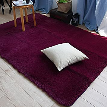 Super Soft Burgundy Carpet For Living Room Modern Rug Runners Solid Area Rugs Shaggy