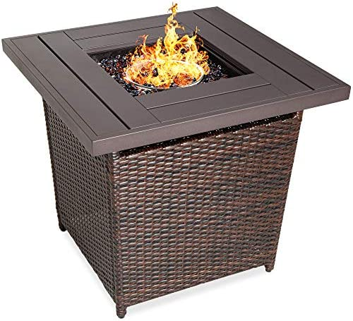 Best Choice Products 28in Fire Pit Table 50,000 BTU Outdoor Wicker Patio Propane Gas w/Faux Wood Tabletop