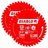 Freud D0740PX Diablo 7-1/4' 40T Finish/Plywood 5/8' Arbor Saw Blade, 2-Pack