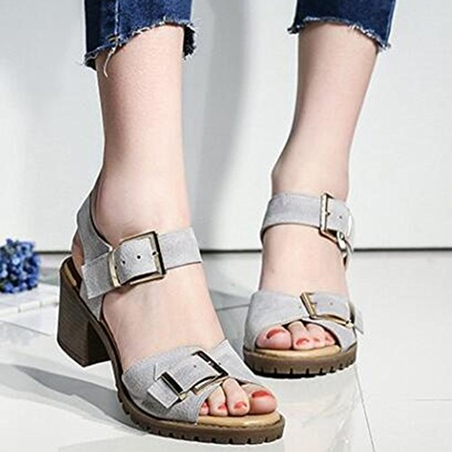 Gray Easemax Buckles Sandals Ankle Strap Womens Faux Heel Mid Suede Fashion Chunky Slingback xwxqO7CpR