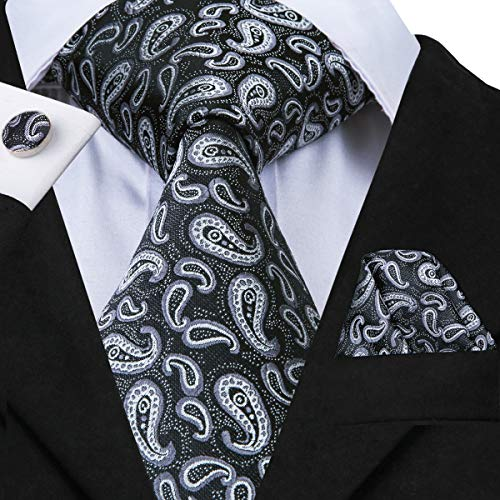 - Hi-Tie Men Black Floral Pattern Paisley Tie Necktie with Cufflinks and Pocket Square Tie Set