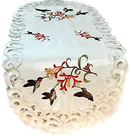 Table Runner Embroidered with Hummingbirds on Ivory Fabric, Size 34 x 15 inches