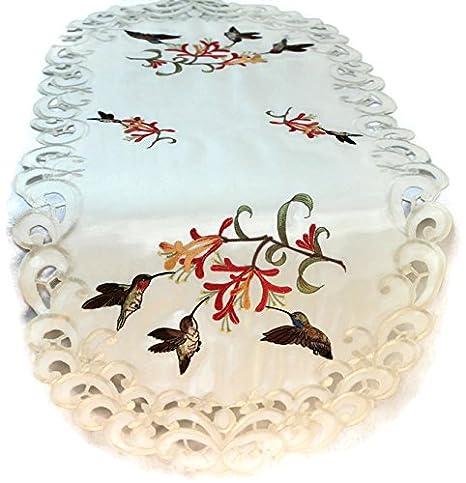 Amazon.com: Camino de mesa con bordados de colibríes en tela ...