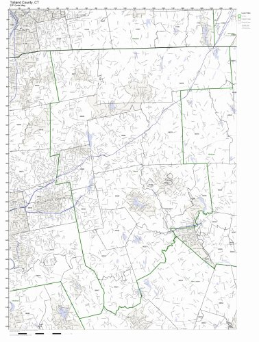 Tolland County, Connecticut CT ZIP Code Map Not Laminated - Tolland County Map