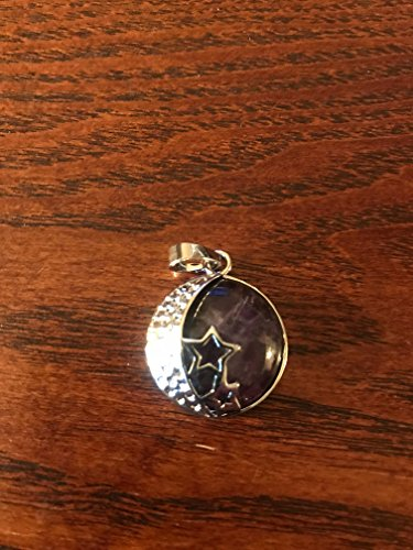natural gemstone round cabochon pendant with silvertone moon and stars